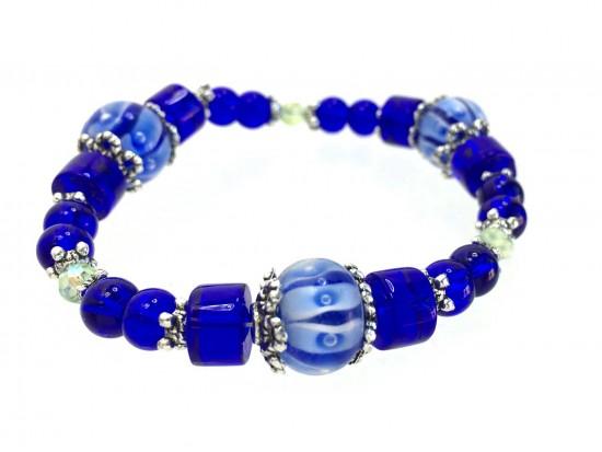 Blue Glass Lantern Beads White Pearl Stretch Bracelet