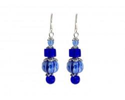 Blue Glass Lantern Bead Hook Earrings
