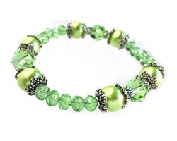 Green Peridot Crystal Pearl Bead Stretch Bracelet
