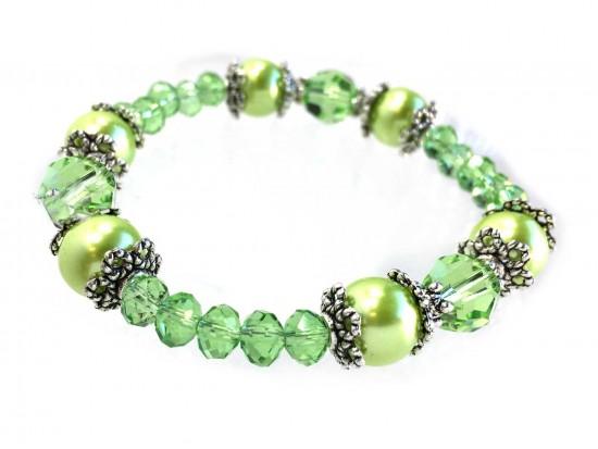 Green Peridot Crystal Pearl Bead Stretch Bracelet