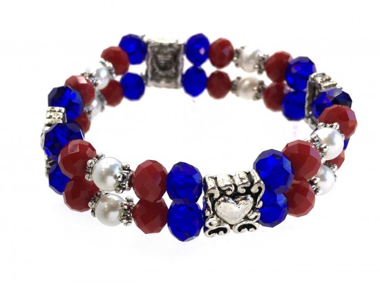 Red White Blue Silver Heart Crystal 2 Line Stretch Bracelet