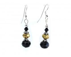 Black Gold Crystal Hook Earrings