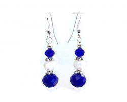 Blue White Crystal Hook Earrings