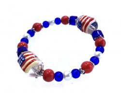 USA Flag Theme Glass Bead Stretch Bracelet