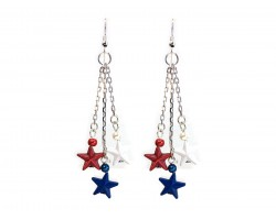 Red White Blue Stars Tassel Chain Hook Earrings