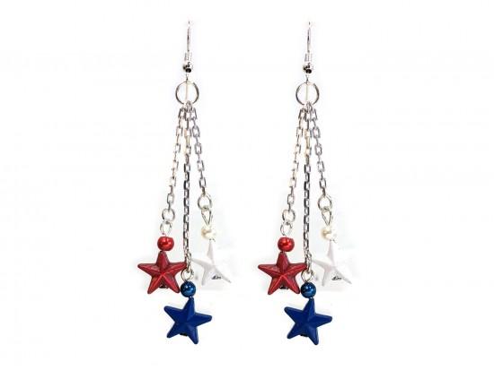 Red White Blue Stars Tassel Chain Hook Earrings