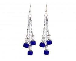 Blue White Glass Tassel Chain Hook Earrings