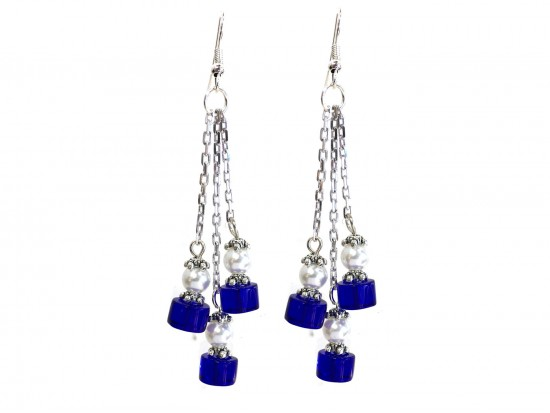 Blue White Glass Tassel Chain Hook Earrings