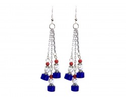 Red White Blue Glass Tassel Chain Hook Earrings