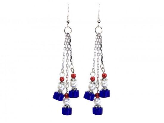 Red White Blue Glass Tassel Chain Hook Earrings