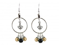 Black Gold Pearl Fleur De Lis Hoop Hook Earrings