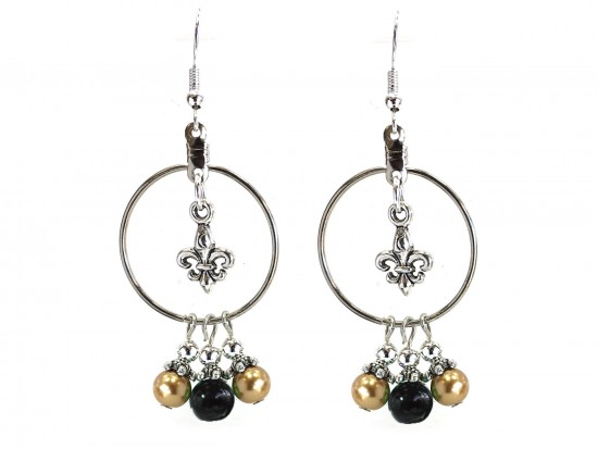 Black Gold Pearl Fleur De Lis Hoop Hook Earrings
