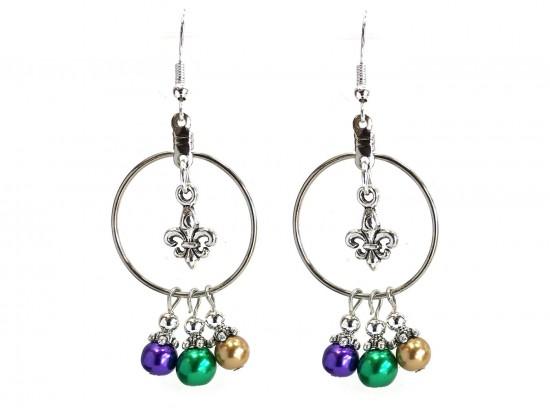 Mardi Gras Pearl Fleur De Lis Hoop Hook Earrings