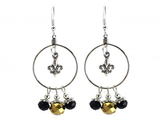 Black Gold Crystal Fleur De Lis Hoop Hook Earrings