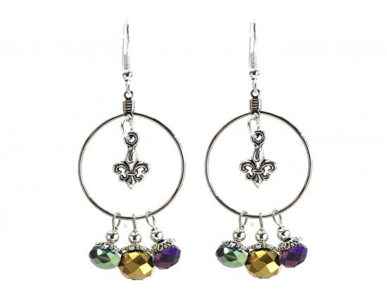 Mardi Gras Crystal Fleur De Lis Hoop Hook Earrings