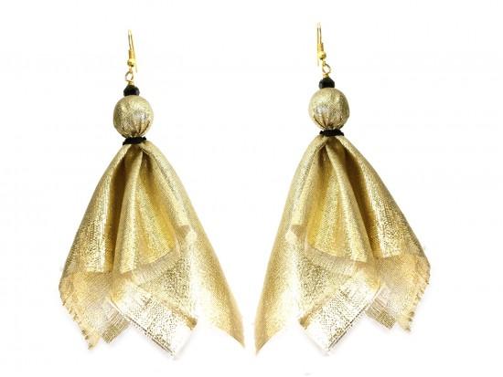 Gold Black Penalty Flag Hook Earrings