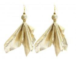 Gold Penalty Flag Hook Earrings