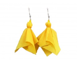 Yellow Penalty Flag Hook Earrings