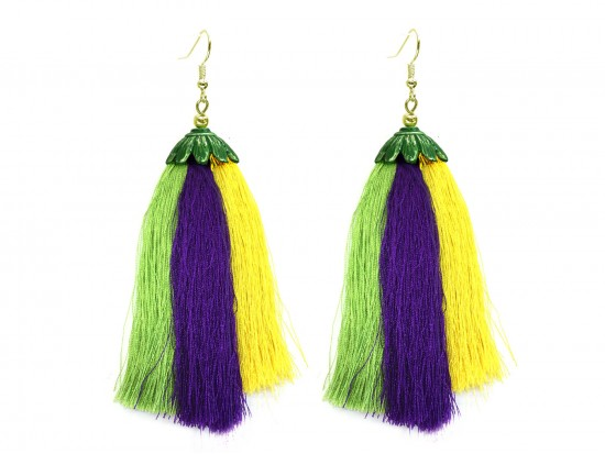 Mardi Gras Long 3 Tassel Hook Earrings