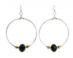 Black Gold Crystal Silver Tube Bead Hoop Earrings