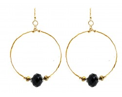Black Gold Crystal Gold Tube Bead Hoop Earrings