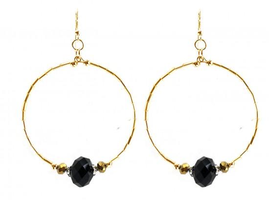 Black Gold Crystal Gold Tube Bead Hoop Earrings