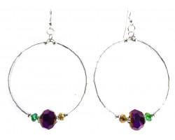 Mardi Gras Crystal Silver Tube Bead Hoop Earrings