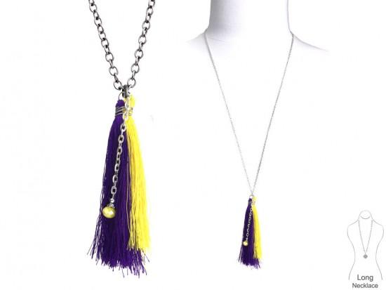 Purple Yellow Tassel Silver Chain Necklace