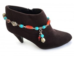 Brown Cross Turq Stone Boot Shoe Jewelry