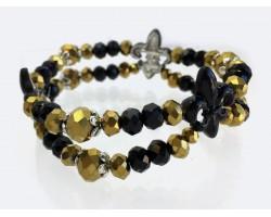 Black Gold Crystal Fleur De Lis 2 Line Bracelet