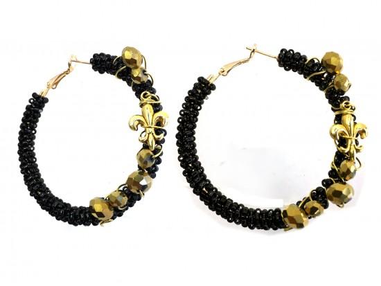 Black Gold Crystal Fleur De Lis Seed Bead Post Earrings