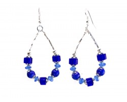 Blue Bead Crystal Teardrop Hook Earrings