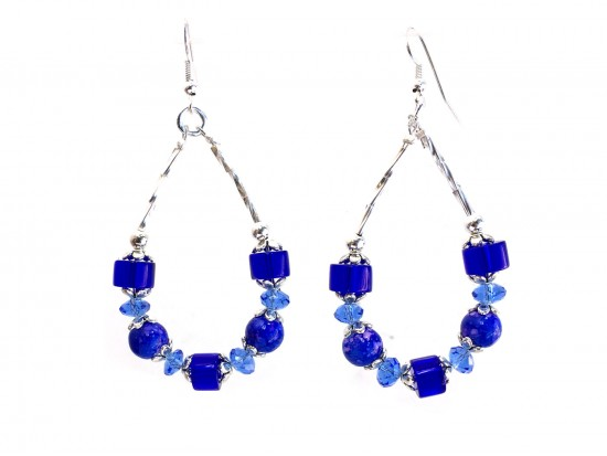 Blue Bead Crystal Teardrop Hook Earrings
