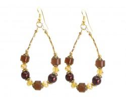 Brown Bead Crystal Teardrop Hook Earrings