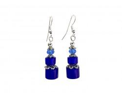 Blue Glass Cylindrical Bead Hook Earrings
