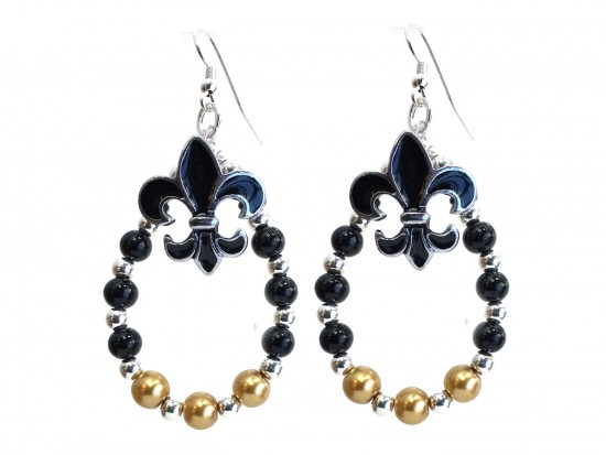 Black Gold Silver Fleur De Lis Teardrop Earrings