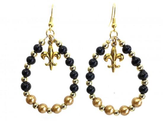 Black Gold Fleur De Lis Teardrop Earrings