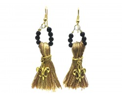 Gold Black Fleur De Lis Tassel Earrings