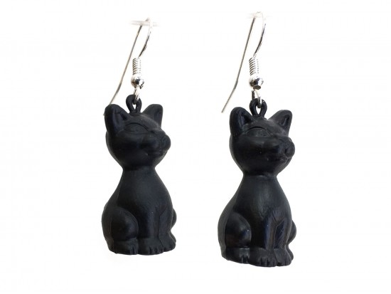 Black Cat Hook Earrings