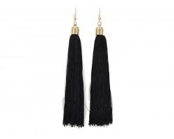 Black Cloth Tassel Gold Hook Earrings