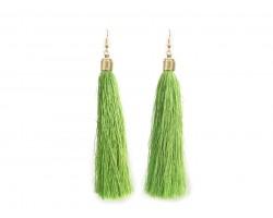 Green Cloth Tassel Gold Hook Earrings