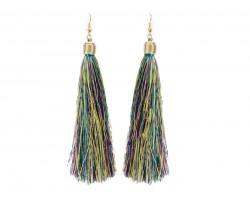 Mardi Gras Cloth Tassel Gold Hook Earrings