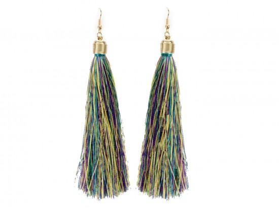 Mardi Gras Mix Cloth Tassel Gold Hook Earrings