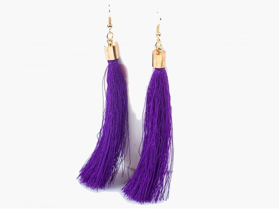 Purple Cloth Tassel Gold Hook Earrings