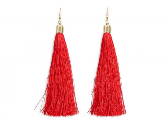 Red Cloth Tassel Gold Hook Earrings