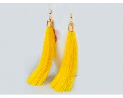Yellow Cloth Tassel Gold Hook Earrings