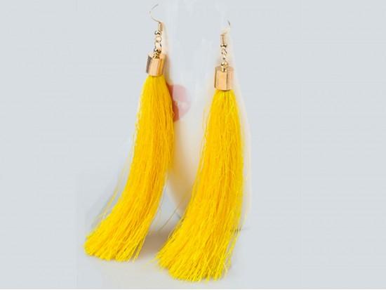 Yellow Cloth Tassel Gold Hook Earrings