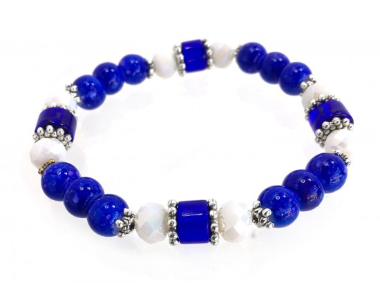 Blue White Stone Crystal Beaded Stretch Bracelet