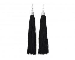Black Cloth Tassel Silver Hook Earrings