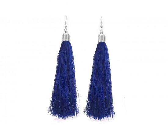 Blue Cloth Tassel Silver Hook Earrings